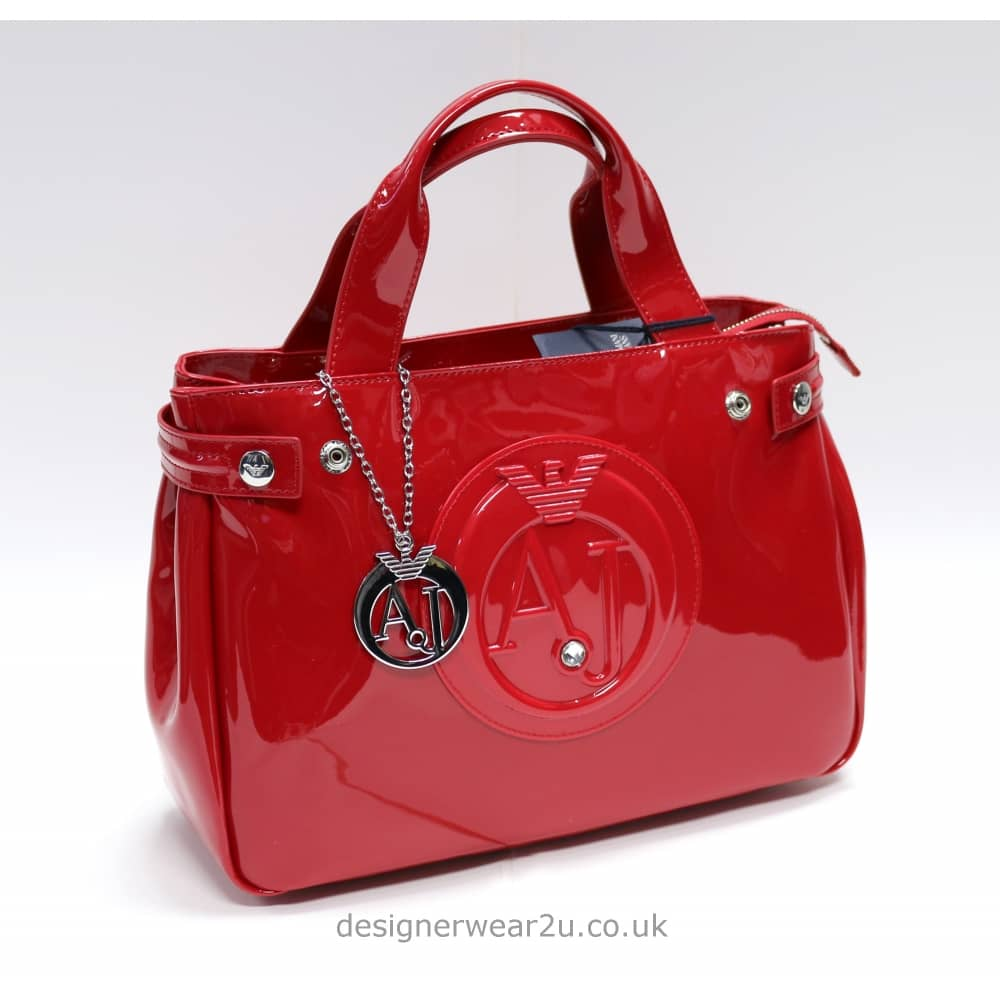034bc33ee Armani Jeans Ladies Armani Jeans Medium Red Patent Tote Bag With ...