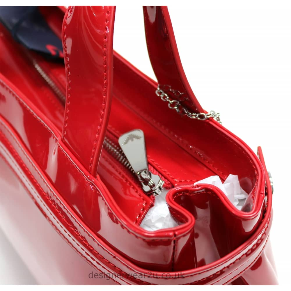 Armani Jeans Ladies Armani Jeans Medium Red Patent Tote Bag With ... 3bc85d8b7ea06