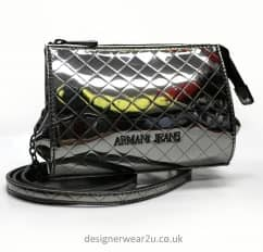 Armani Jeans Metallic Pewter Across The Body Bag