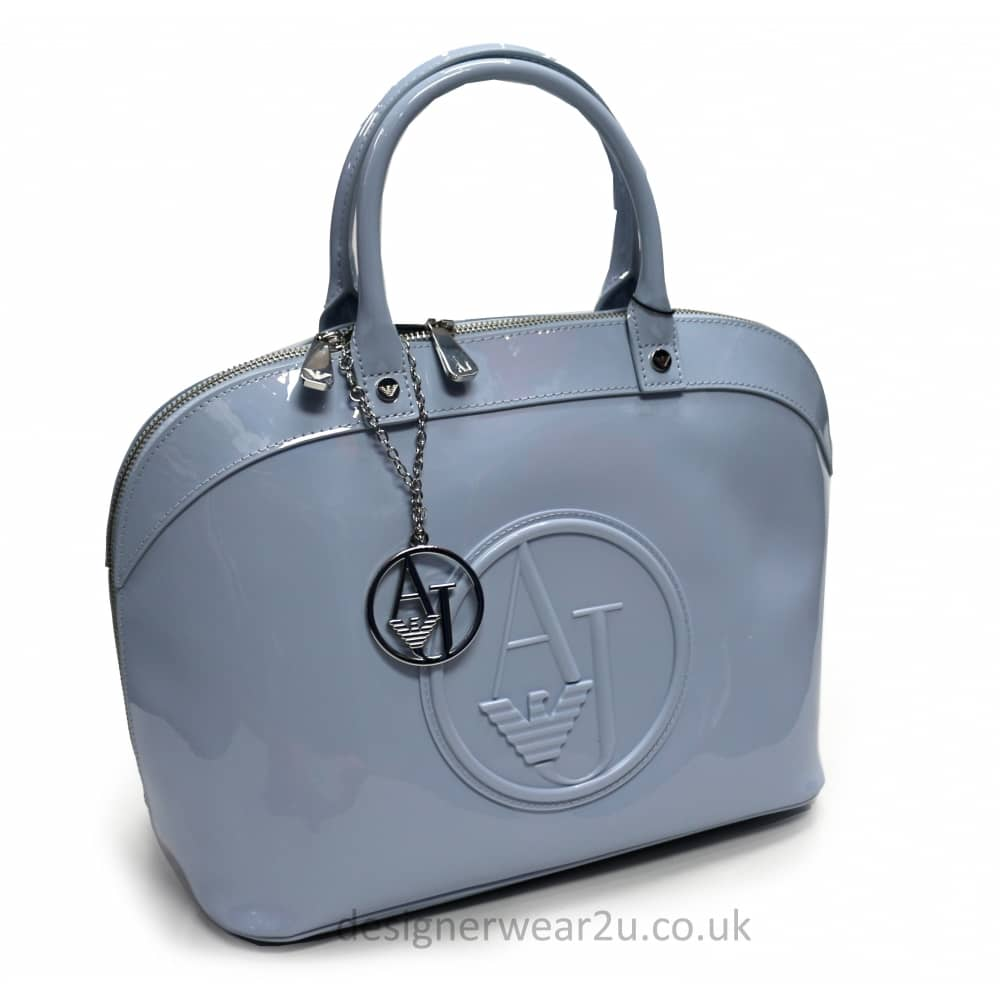 38559600c959 Armani Jeans Ladies Armani Jeans Sky Rounded Bowler Style Patent Bag ...