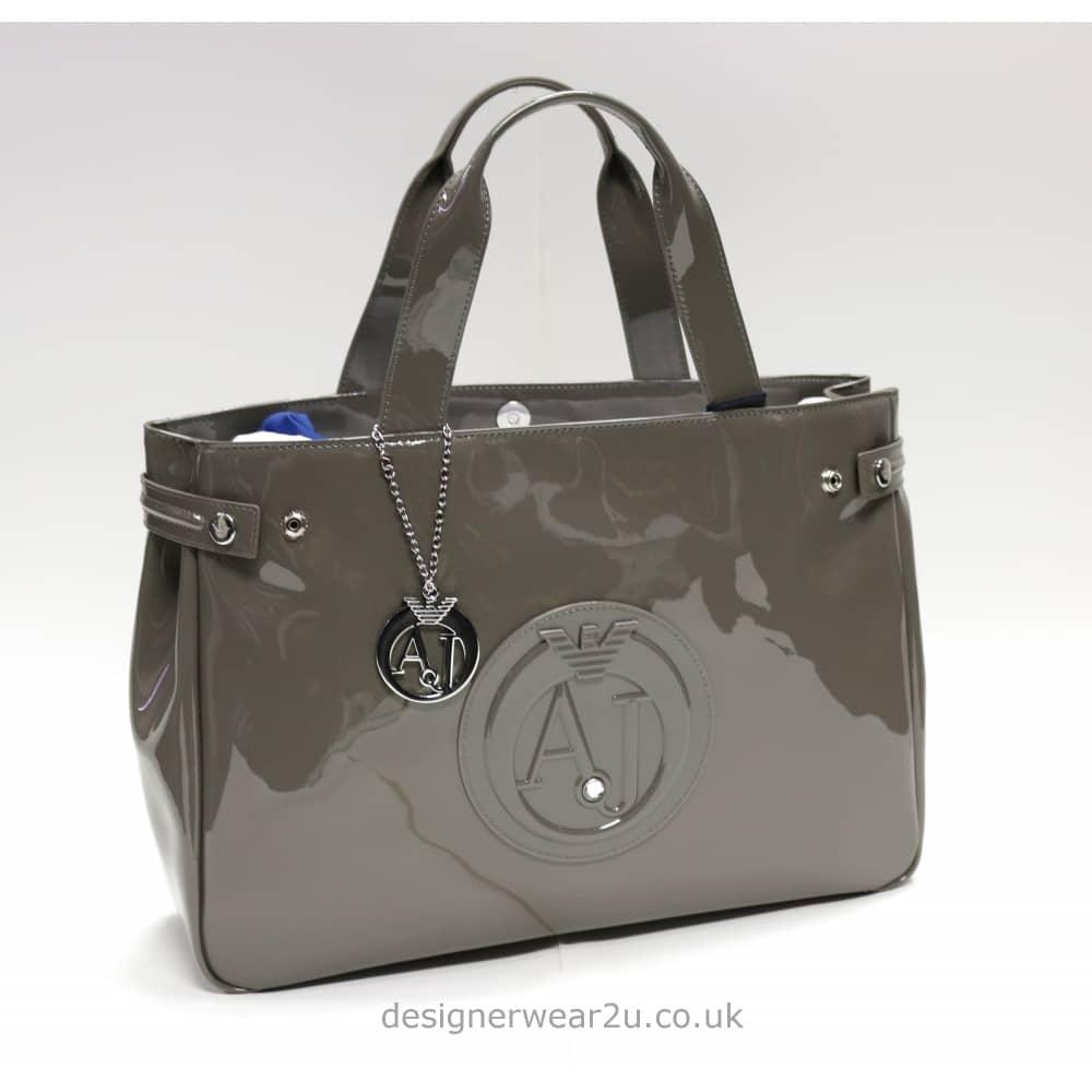 5d26e6ea10b Armani Jeans Ladies Armani Jeans Taupe Patent Shopper Bag with Large ...