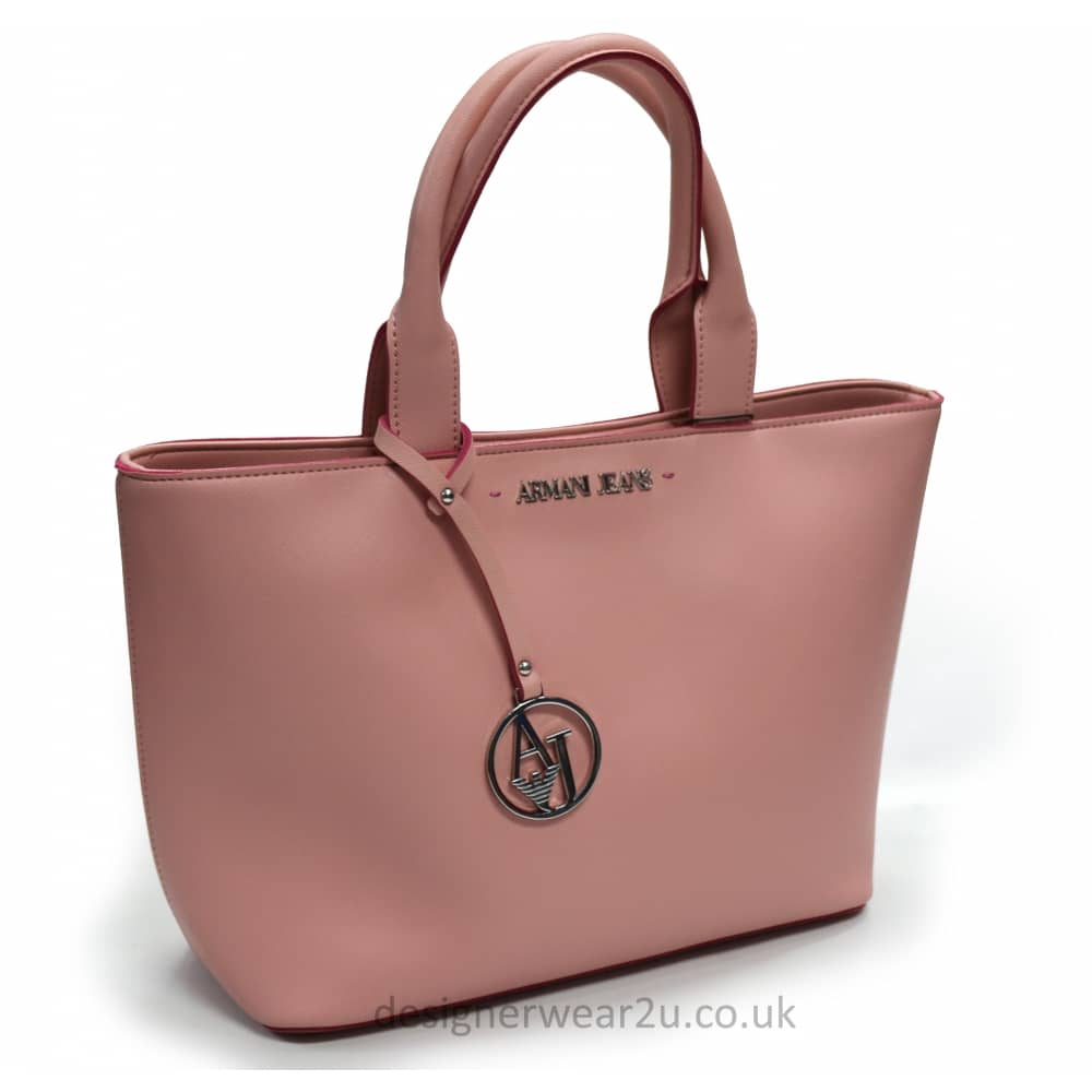 Armani Jeans Ladies Armani Jeans Trimmed Tote Bag in Pink - Ladies ... f3a6b91b00f35
