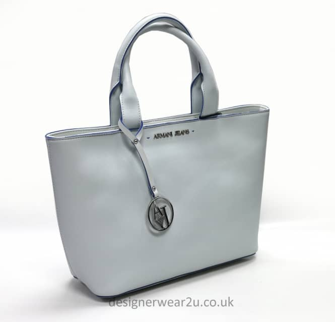 Armani Jeans Ladies Armani Jeans Trimmed Tote Bag in White