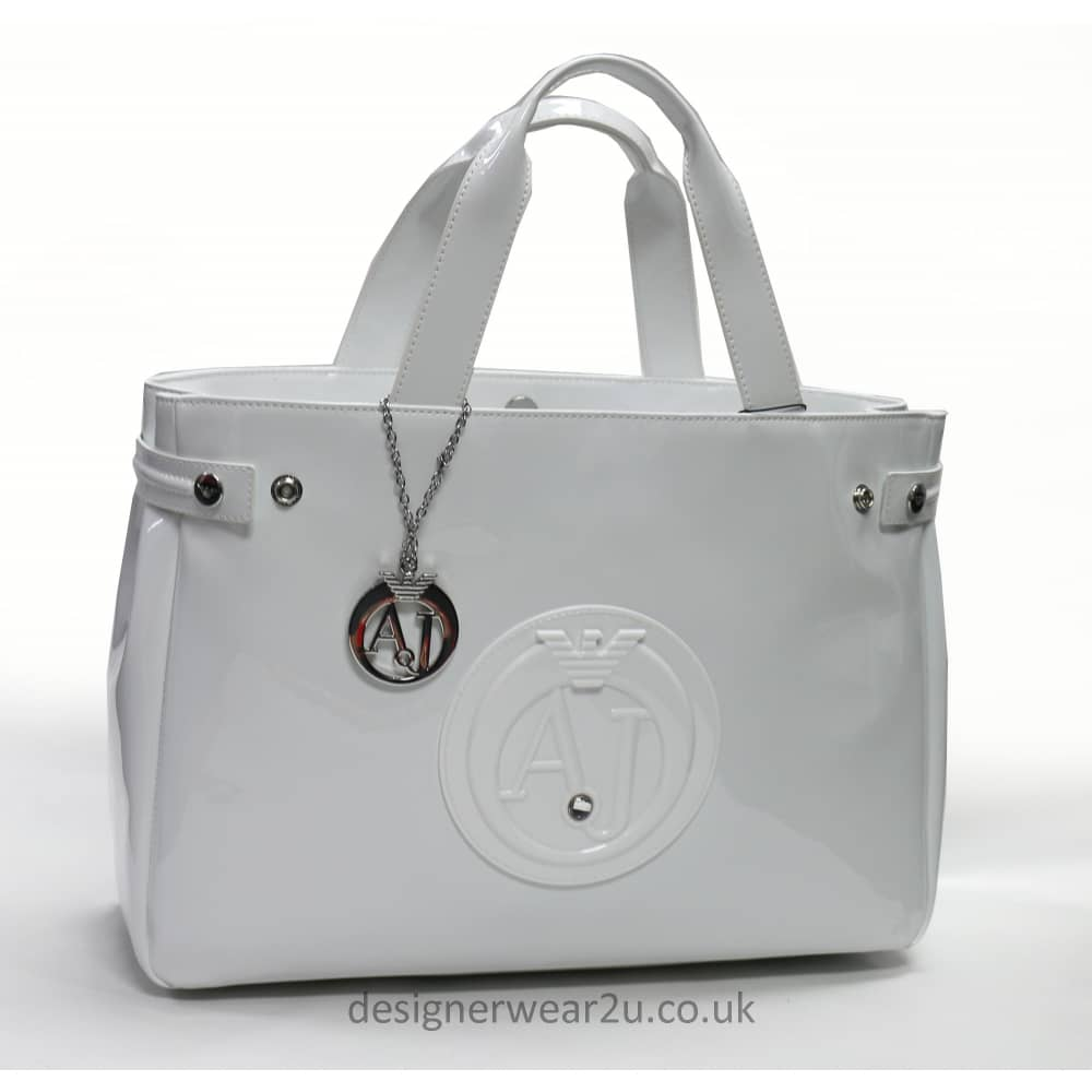 Armani Jeans Ladies Armani Jeans White Patent Tote Shopper Bag with ... 089566d113ca9