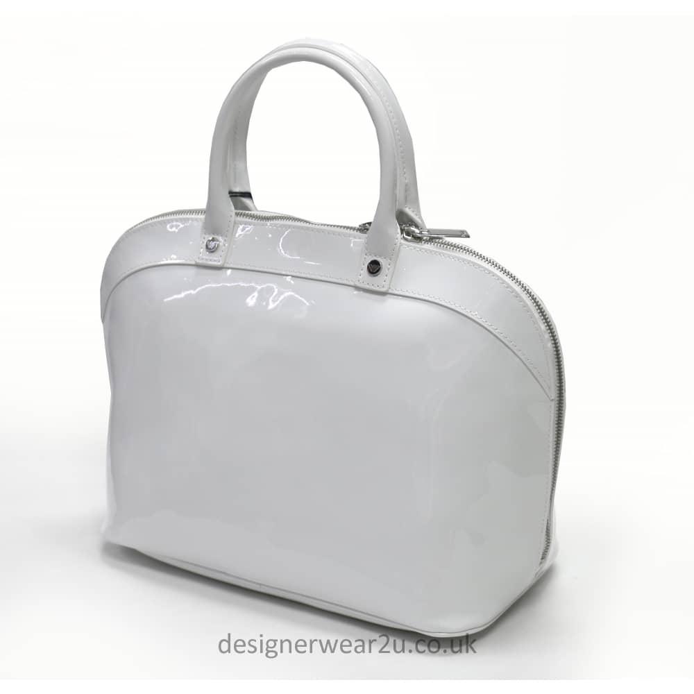 Armani Jeans Ladies Armani Jeans White Rounded Bowler Style Patent ... d06c35bd0ac2b
