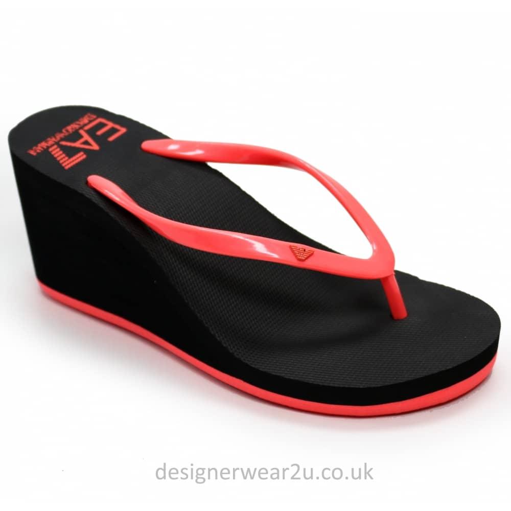 e0e1b87ad Armani Jeans Ladies Armani Ladies Wedge Flip Flops with Contrast ...