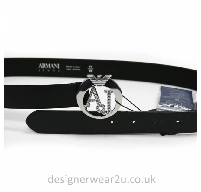 Armani Jeans Ladies Armani Jeans Ladies Diamante AJ Black Belt