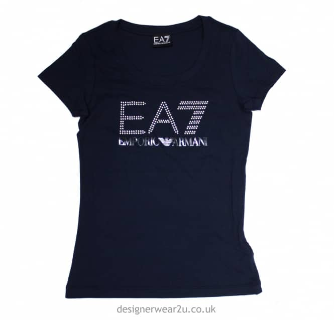 Armani Jeans Ladies EA7 Ladies Navy Cotton T-Shirt With Pearl Logo ... ca9194462