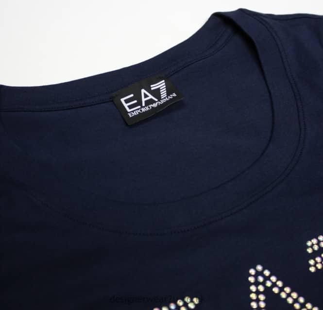 0c5b4e24 Armani Jeans Ladies EA7 Ladies Navy Cotton T-Shirt With Pearl Logo