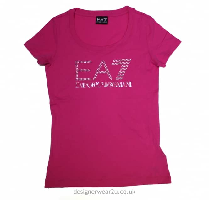 0f540860 Armani Jeans Ladies EA7 Ladies Pink Cotton T-Shirt With Pearl Logo