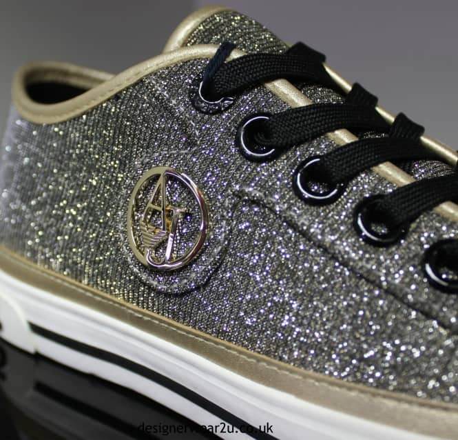 2fa6dda8ff7 Armani Jeans Ladies Gold Trainers With Sparkle Effect - Ladies from ...
