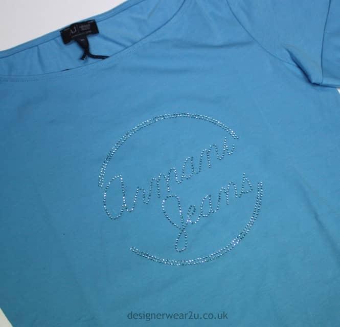 d4f21b78 Armani Jeans Ladies Armani Jeans Ladies Sky Blue T-Shirt With Diamante Logo