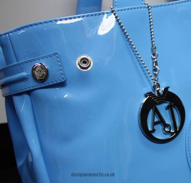Armani Jeans Ladies Armani Jeans Light Sky Blue Patent Tote Bag with ... 86af41553934c
