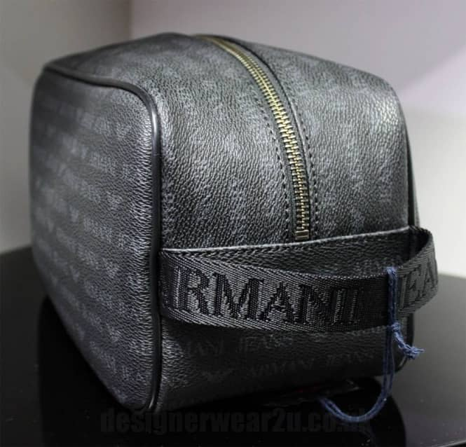 f2689026de01 Armani Jeans Logo Wash Bag in Black - Holiday Shop from ...