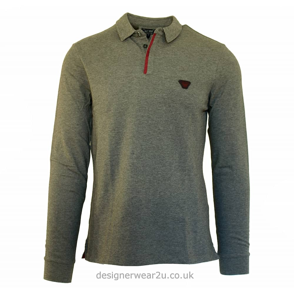 e81040a3 Armani Jeans Armani Jeans Long Sleeve Trimmed Polo in Grey