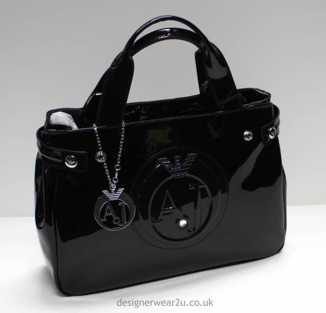 a31cc073e83b armani jeans ladies medium black patent tote bag with detachable charm  accessories .