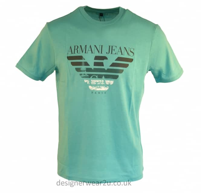 Armani Jeans Armani Jeans Mint T-Shirt With Printed Logo