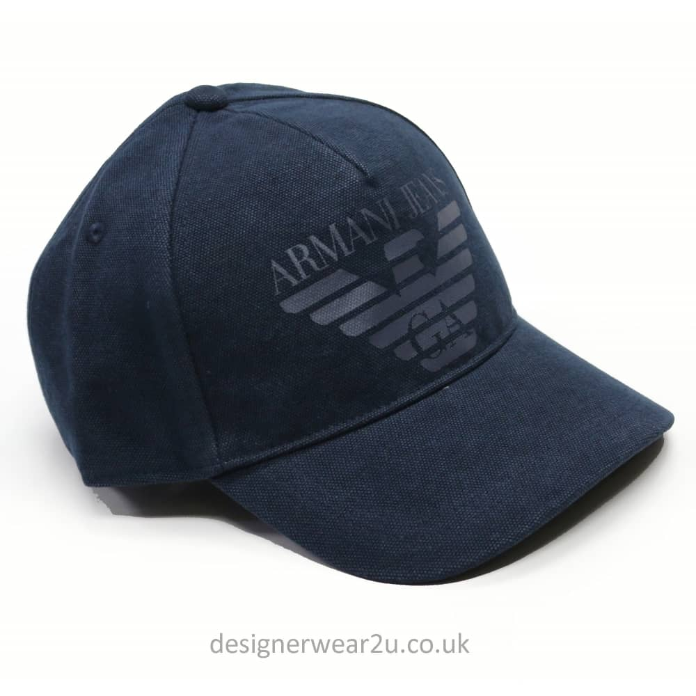 30b7783dd1655 Armani Jeans Navy Baseball Cap With Printed Logo - Accessories from ...