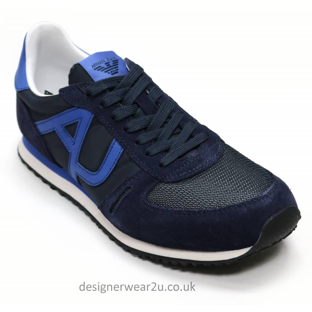 Armani Jeans Navy Mens Trainers With
