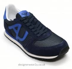 Armani Jeans Navy Mens Trainers With Logo
