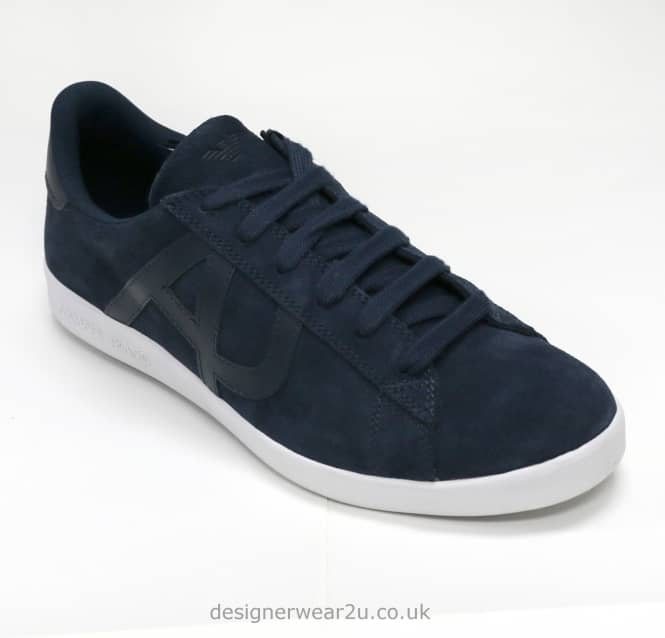 Armani Jeans Armani Jeans Navy Suede Trainers With Logo