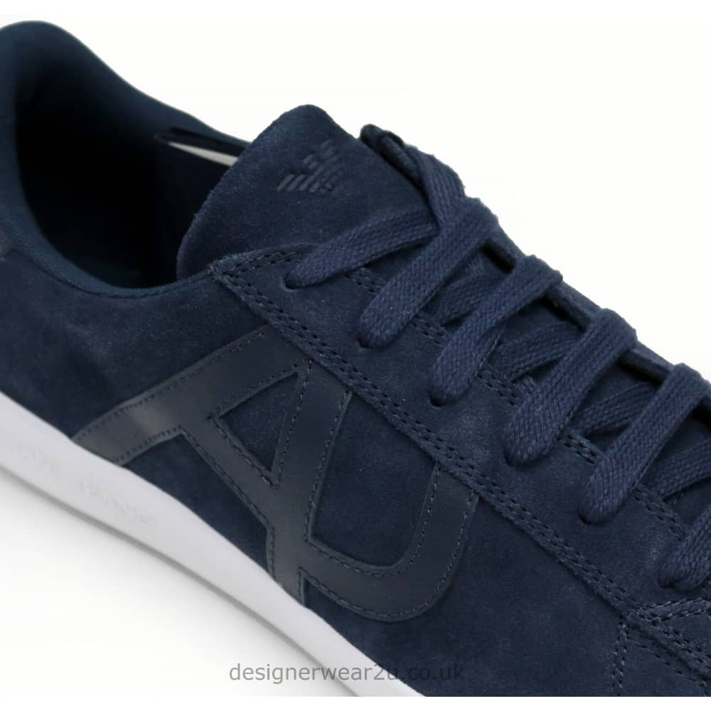 Armani Jeans Navy Suede Trainers With