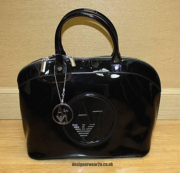 7a49b2cddb6e Armani Jeans Ladies Armani Jeans Patent Bowling Bag with Large AJ ...