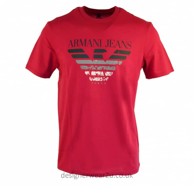 Armani Jeans Armani Jeans Raspberry T-Shirt With Printed Logo