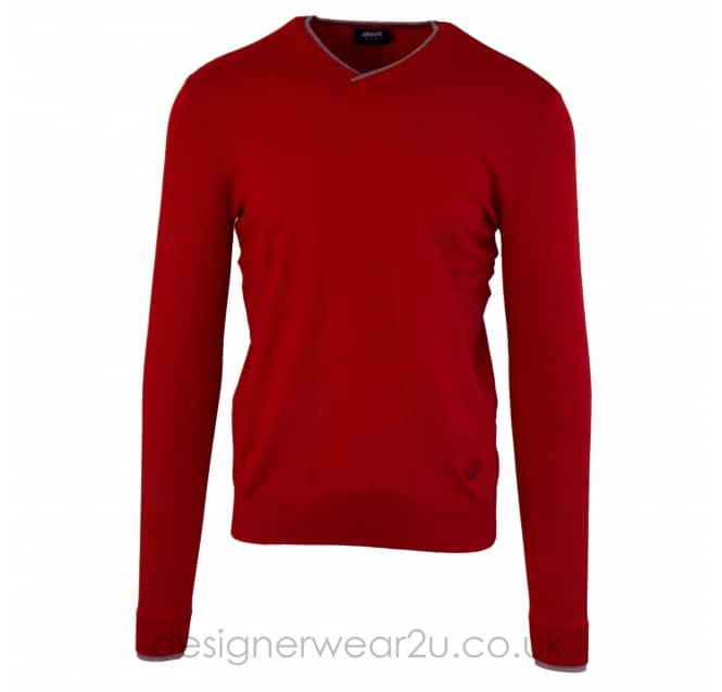 Armani Jeans Armani Jeans Red V-Neck Knit Sweater