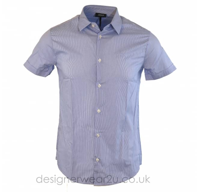 Armani Jeans Armani Jeans Sky Blue Slim Fit Micro Check Shirt
