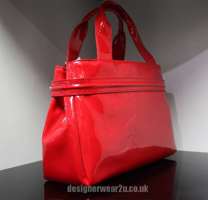 Armani Jeans Ladies Armani Jeans Small Red Patent Tote Bag With ... de691cd6daa55