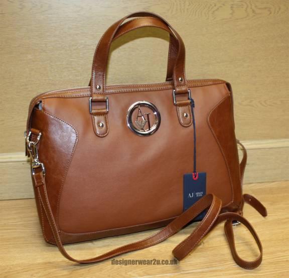 Armani Jeans Ladies Armani Jeans Trimmed Tan Handbag - Bags from ... 7d10bb4b91066