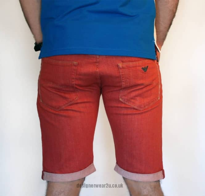 Armani Jeans Armani Jeans Washed Red Denim Slim Fitting Shorts
