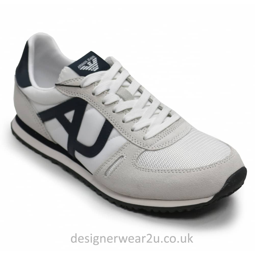 order online utterly stylish the best Armani Jeans Armani Jeans White Mens Trainers With Logo