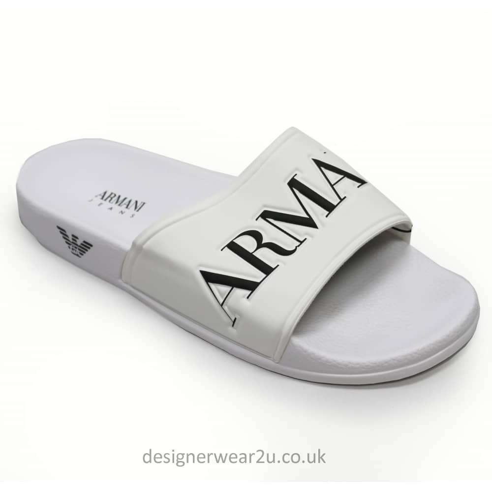 f03ae430feacd Armani Jeans White Sandal Syle Flip Flops With Eagle Branding ...