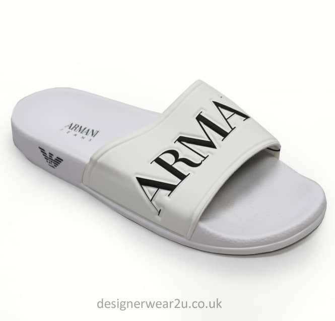 Armani Jeans Armani Jeans White Sandal Syle Flip Flops With Eagle Branding