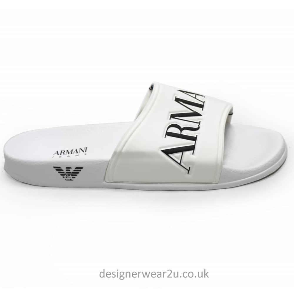a6e740555 Armani Jeans White Sandal Syle Flip Flops With Eagle Branding ...