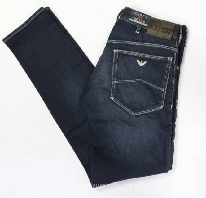 c34867e623 Armani Jeans Armani Slim Fit Vintage Wash Jeans With Distressed Look to  Pockets