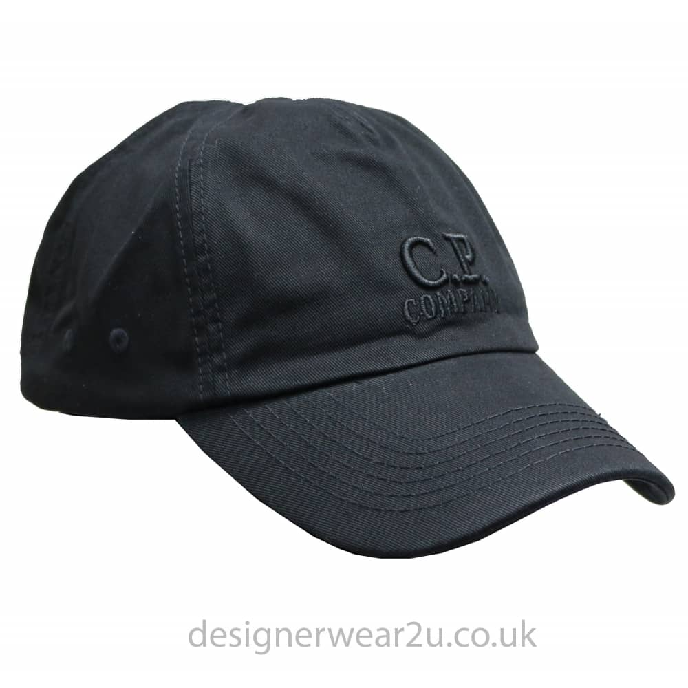 c914c4fd331 C.P Company CP Company Black Soft Shell Cap With Embroidered Logo ...