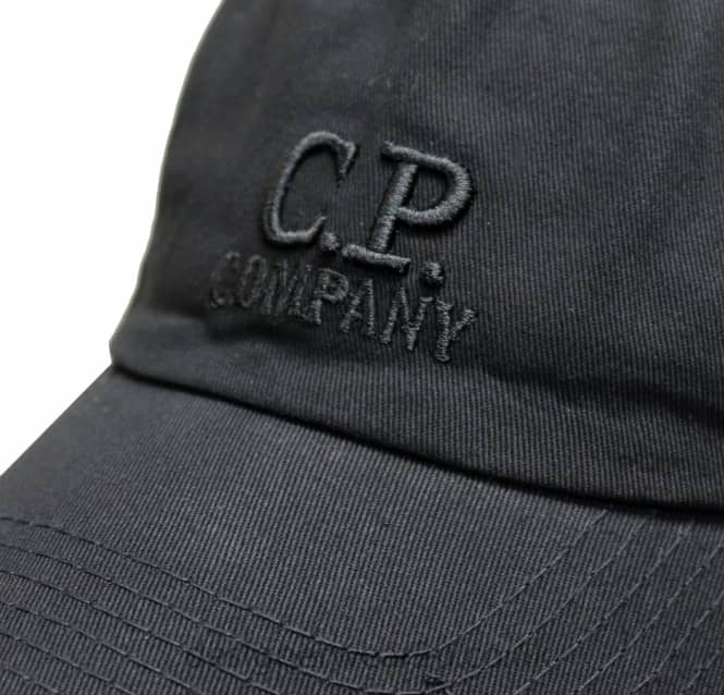 970c77903 C.P Company CP Company Black Soft Shell Cap With Embroidered Logo