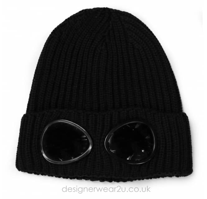 C.P Company CP Company Black Wool Beanie Hat With Goggles