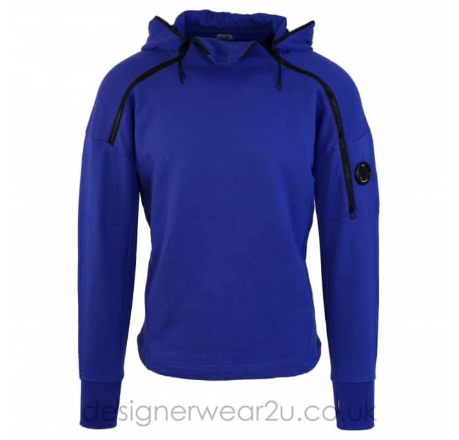 C.P Company CP Company Blue Hooded Sweat With Arm Lens