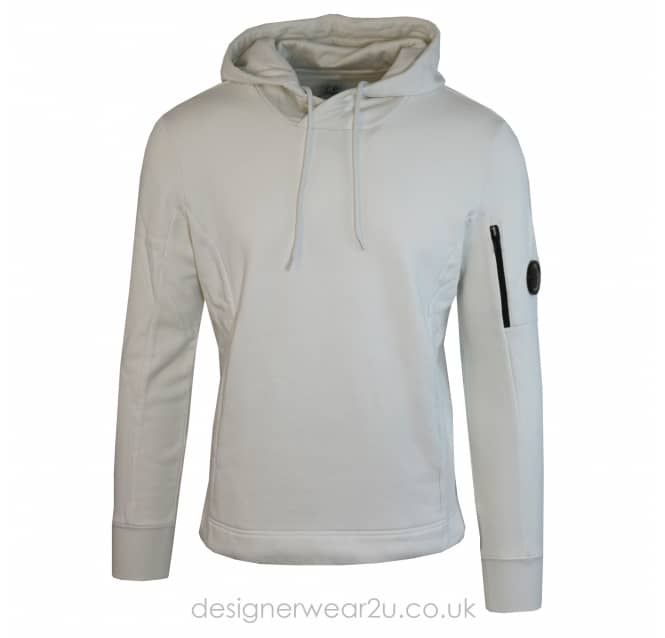 C.P Company CP Company Cream Hooded Sweatshirt With Arm Lens