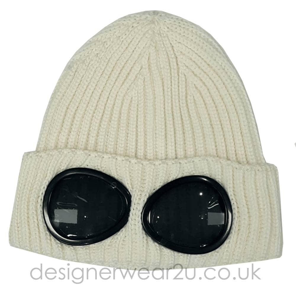 C.P Company CP Company Cream Wool Beanie Hat With Goggles ... 446cc16abc0