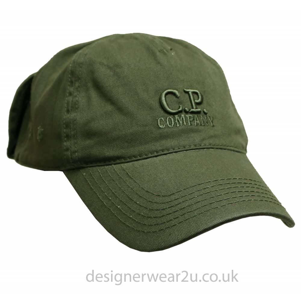 13582bd5e14 C.P Company CP Company Dark Green Goggle Cap With Embroidered Logo ...