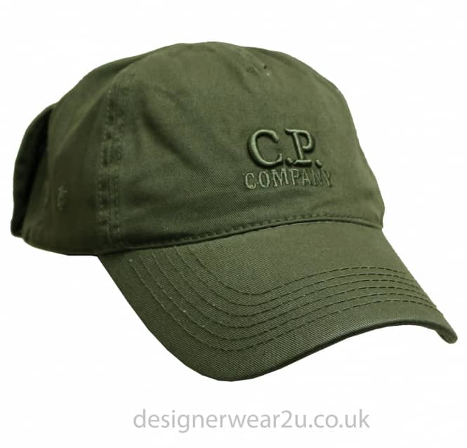 C.P Company CP Company Dark Green Goggle Cap With Embroidered Logo