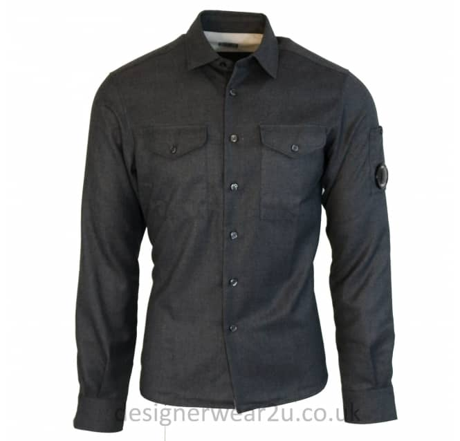 C.P Company CP Company Grey Regular Fitting Shirt With Arm Lens