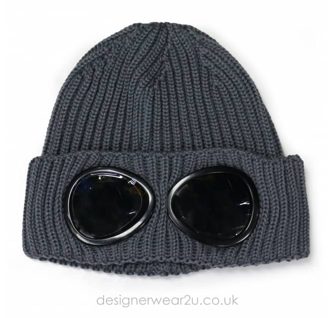 C.P Company CP Company Grey Wool Beanie Hat With Goggles
