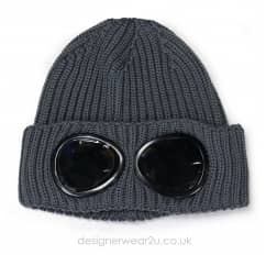 CP Company Grey Wool Beanie Hat With Goggles