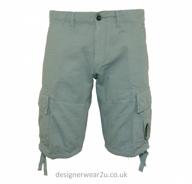 C.P Company CP Company Ice Blue Cargo Shorts With Lens Detail